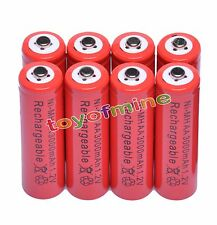 8x AA 3000mAh 2A 1.2 V Ni-MH Red Rechargeable Battery Cell for MP3 RC Toys