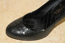 $875 NEW CHANEL BLACK Sequins Pumps CC logo Satin 3 inch Heels SHOES bag 37 6.5