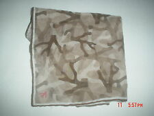 NWT Isaia Coral Camouflage Sheer Silk Cotton Pocket Square