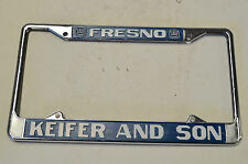 Vintage Metal KEIFER AND SON SAAB Fresno, CA Logo Dealer License Plate Frame