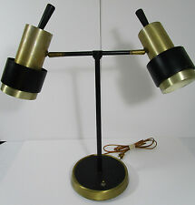 Mid Century Modern Desk Table Lamp Double Tube Shaped Metal Shades Tilt Lights