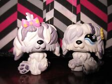 Littlest pet shop LPS Twin Sheep Dogs shaggy with bows Hasbro MINT #465 #466