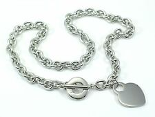 STAINLESS STEEL 316L LADIES LINK TOGGLE HEART NECKLACE CHAIN Choker 18.5""