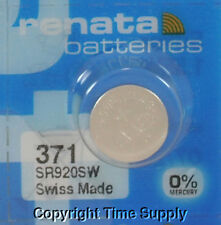 6 pcs 371 Renata Watch Batteries SR920SW FREE SHIP 0% MERCURY