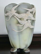 "NIPPON (OLD NORITAKE) FOOTED VASE ""FLYING MORIAGE GEESE"" /SWANS EX-CONDITION"