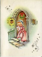 UNUSED Vintage Norcross Christmas Card: Little Girl in Pink w. Package - Glitter
