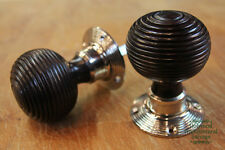 6 x Pairs of Rosewood Beehive Doorknobs w/ Nickel Collars (WDK8)