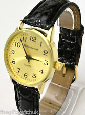 Ladies Philip Mercier BIG NUMBERS Watch Easy Read Gold Tone BIG FACE Black Strap