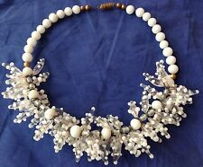 VINTAGE ANTIQUE MURANO VENETIAN HANDBLOWN WHITE WEDDING GLASS BEAD NECKLACE