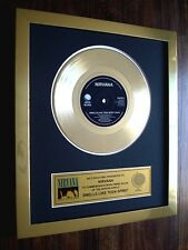 "NIRVANA SMELLS LIKE TEEN SPIRIT 24KT GOLD 7"" SINGLE RECORD DISC AWARD"