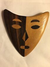 Dramatic Marquetry Face Mask Wood Brooch Wearable Modern Art