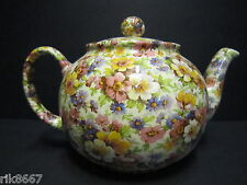 Heron Cross Pottery Summer Meadow (pink B/K) Chintz English 6-8 Cup Tea Pot