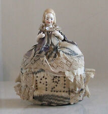 Gorgeous Pin Cushion / Antique Doll Deco Period 1921 China Face & Hands Collect