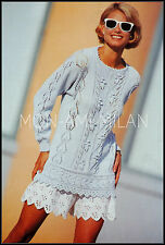 Knitting Pattern Copy LADIES PRETTY LACY SWEATER with BOBBLE TEXTURE DK COTTON