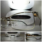 New SLEEK CONTEMPORARY MODERN Clear Lens EYE GLASSES Chrome Silver Fashion Frame