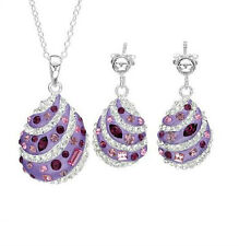 Crystals Two Tone Enamel & 925 Sterling Silver Necklace & Earrings Jewelry Set