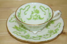 Cauldon England White with Green Design & Gold Trim Demitasse Cup & Saucer