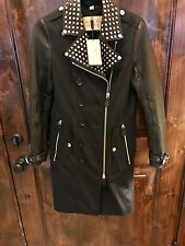 Burberry NWT BLACK trench Women's Size 6 Studded Coat
