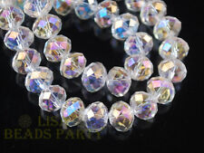 72pcs Rondelle Faceted Loose Crystal Glass Beads Jewelry Making 8x6mm Clear AB