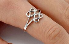 .925 Sterling Silver Ring size 4 Celtic Heart Irish Infinity Knot Love New p80