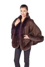 Women's Plus Size Short Cashmere Cape Wrap with Fox Fur Trim - Brown