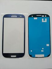 Genuine Glass Front Screen Blue Samsung Galaxy S3 SIII With Adhesive,Sticker