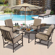5 PCS Patio Furniture Set Chair & BBQ Stove Fire Pit + 9Ft Beige Wood Umbrella