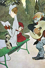 Musician OLD GUITAR PLAYER Serenading Lady w DOG Blanco Negro 1908 Art Cover