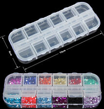 Plastic Clear Empty Storage Box Case For Nail Art Tips Glitter Rhinestone New