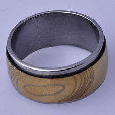 Smooth Vintage Men's Zirconia Stone Band Ring Yellow White Gold Filled Size 10
