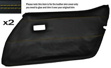 YELLOW STITCH 2X FRONT FULL DOOR CARD LEATHER SKIN COVER FITS CORVETTE C3 78-82