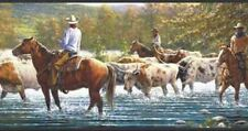 Wallpaper Border American West Western Cowboy Cattle Drive Black Trim
