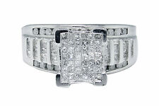 White Gold Finish Princess Round Cut Diamond Wedding Band Engagement Ring 1.0 Ct