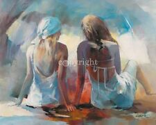 Willem Haenraets: Two Girl Friends I Mädchen Fertig-Bild 60x80