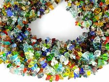 """3 Strands Multi Stone Hydro Gemstone Smooth Endless Uneven Chips Beads 34"""" Long"""