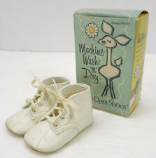 Vintage Baby Deers White Lace-Up Punchwork Booties Shoes w/Original Box Size 2