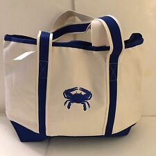 LARGE CRAB CANVAS beach cotton natural tote bag EMBROIDERED BLUE top ZIP NEW