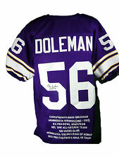 Chris Doleman Autographed Minnesota Vikings Purple Stat Jersey #1, JSA