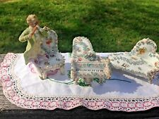 Antique Set of 3 German Elfinware Pieces-Piano-Settee-Chair w/Man Playing Flute