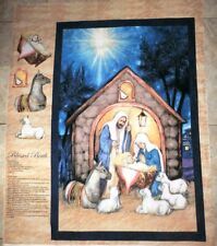 Christmas Nativity fabric panel BLESSED BIRTH Cotton Fabric  BTP NEW FREE SHIP