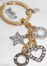 NWT Coach Key Chain Ring Rhinestone Pave Heart Star Disc Mix 62502 Silver Gold