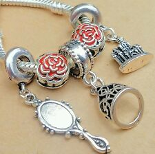 5P Disney Princess Belle Tiara Enchanted Mirror Castle Red Roses European Charms