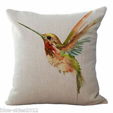 HUMMINGBIRD Cotton-Linen Canvas New CUSHION COVER Natural Classic Case, UK Sale