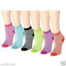 New 6 Pairs Womens Ankle Striped Multi Color Socks Neon Size 9-11 Cotton Loop