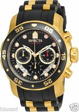 Invicta 21928 Pro Diver Men's Black/Gold Silicone Strap 48mm Watch Chronograph