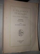 I CLASSICI ITALIANI NELLA STORIA DELLA CRITICA Vol 1 Walter Binni Nuova Italia
