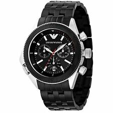 NEW EMPORIO ARMANI AR0547 STEEL MENS CHRONOGRAPH WATCH - 2 YEAR WARRANTY