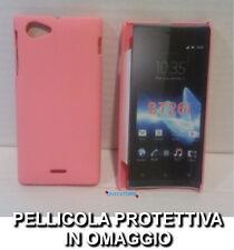 Pellicola + custodia BACK cover RIGIDA ROSA per Sony Xperia J ST26i