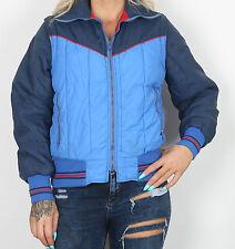Années 70 ski veste style uk 10-12 s m manteau années 1970 puffa vintage bleu (E3E)