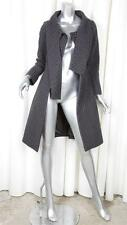 MOSCHINO CHEAP AND CHIC Womens Gray+Brown Wool Plaid TIe-Neck Coat Jacket XS
